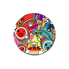 Cute Doodles Wallpaper Background Magnet 3  (round) by Nexatart