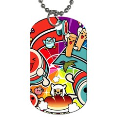 Cute Doodles Wallpaper Background Dog Tag (two Sides) by Nexatart