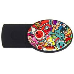 Cute Doodles Wallpaper Background Usb Flash Drive Oval (4 Gb)