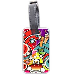 Cute Doodles Wallpaper Background Luggage Tags (one Side)  by Nexatart