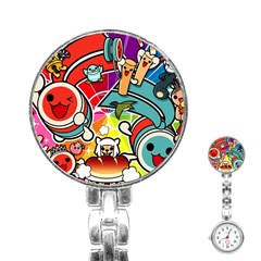 Cute Doodles Wallpaper Background Stainless Steel Nurses Watch by Nexatart