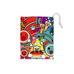 Cute Doodles Wallpaper Background Drawstring Pouches (small)  by Nexatart
