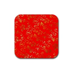 Golden Swrils Pattern Background Rubber Square Coaster (4 Pack)  by Nexatart