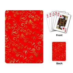 Golden Swrils Pattern Background Playing Card