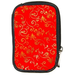 Golden Swrils Pattern Background Compact Camera Cases by Nexatart