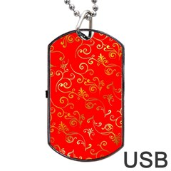 Golden Swrils Pattern Background Dog Tag Usb Flash (one Side) by Nexatart