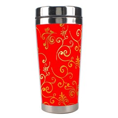 Golden Swrils Pattern Background Stainless Steel Travel Tumblers
