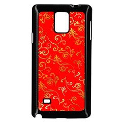 Golden Swrils Pattern Background Samsung Galaxy Note 4 Case (black)