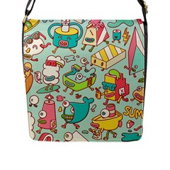Summer Up Pattern Flap Messenger Bag (l)