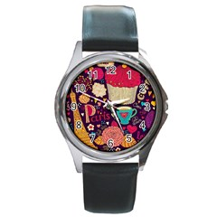 Cute Colorful Doodles Colorful Cute Doodle Paris Round Metal Watch by Nexatart