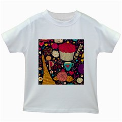 Cute Colorful Doodles Colorful Cute Doodle Paris Kids White T-shirts by Nexatart