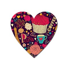 Cute Colorful Doodles Colorful Cute Doodle Paris Heart Magnet by Nexatart