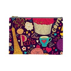 Cute Colorful Doodles Colorful Cute Doodle Paris Cosmetic Bag (large)  by Nexatart