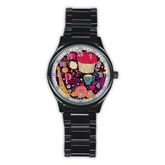 Cute Colorful Doodles Colorful Cute Doodle Paris Stainless Steel Round Watch