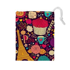 Cute Colorful Doodles Colorful Cute Doodle Paris Drawstring Pouches (large)  by Nexatart
