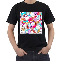 Cute Cartoon Pattern Men s T Shirt (black) (two Sided)