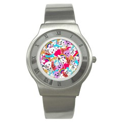 Cute Cartoon Pattern Stainless Steel Watch by Nexatart