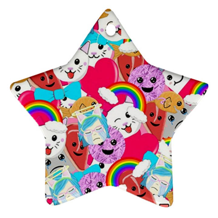 Cute Cartoon Pattern Star Ornament (Two Sides)