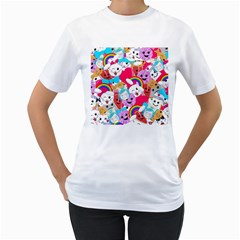 Cute Cartoon Pattern Women s T Shirt (white)  by Nexatart