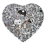 Cute Doodles Ornament (Heart) Front
