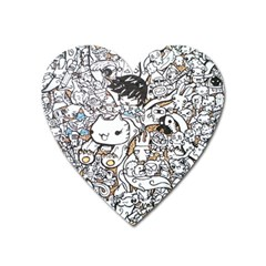 Cute Doodles Heart Magnet by Nexatart