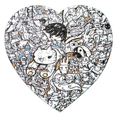 Cute Doodles Jigsaw Puzzle (heart) by Nexatart
