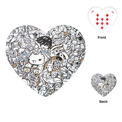 Cute Doodles Playing Cards (heart)  by Nexatart