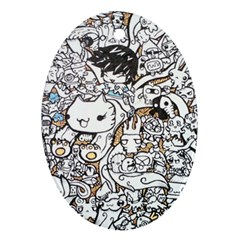 Cute Doodles Oval Ornament (two Sides) by Nexatart