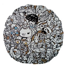 Cute Doodles Large 18  Premium Flano Round Cushions