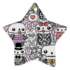 Kawaii Graffiti And Cute Doodles Star Ornament (two Sides) by Nexatart