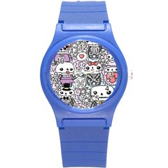 Kawaii Graffiti And Cute Doodles Round Plastic Sport Watch (s) by Nexatart