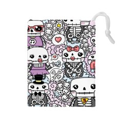 Kawaii Graffiti And Cute Doodles Drawstring Pouches (large)  by Nexatart