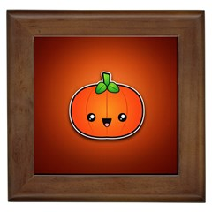 Simple Orange Pumpkin Cute Halloween Framed Tiles by Nexatart