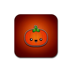Simple Orange Pumpkin Cute Halloween Rubber Square Coaster (4 Pack)  by Nexatart