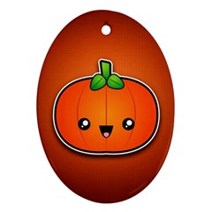 Simple Orange Pumpkin Cute Halloween Oval Ornament (two Sides) by Nexatart