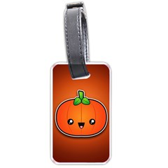 Simple Orange Pumpkin Cute Halloween Luggage Tags (two Sides) by Nexatart