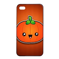 Simple Orange Pumpkin Cute Halloween Apple Iphone 4/4s Seamless Case (black) by Nexatart
