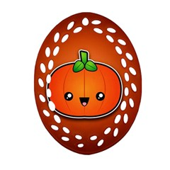 Simple Orange Pumpkin Cute Halloween Oval Filigree Ornament (two Sides) by Nexatart