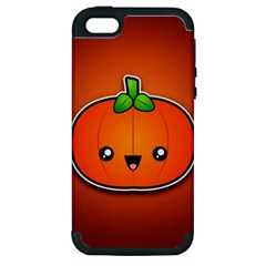 Simple Orange Pumpkin Cute Halloween Apple Iphone 5 Hardshell Case (pc+silicone) by Nexatart