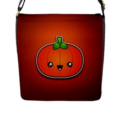 Simple Orange Pumpkin Cute Halloween Flap Messenger Bag (l)  by Nexatart