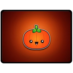 Simple Orange Pumpkin Cute Halloween Double Sided Fleece Blanket (large)  by Nexatart
