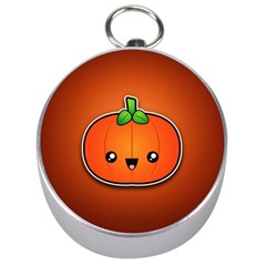 Simple Orange Pumpkin Cute Halloween Silver Compasses by Nexatart
