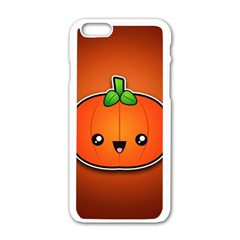 Simple Orange Pumpkin Cute Halloween Apple Iphone 6/6s White Enamel Case by Nexatart