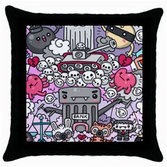 0 Sad War Kawaii Doodle Throw Pillow Case (black) by Nexatart