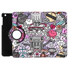 0 Sad War Kawaii Doodle Apple Ipad Mini Flip 360 Case by Nexatart