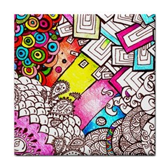 Beautiful Colorful Doodle Tile Coasters by Nexatart