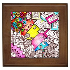 Beautiful Colorful Doodle Framed Tiles by Nexatart
