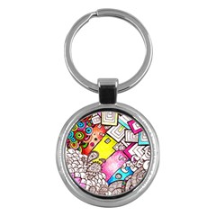 Beautiful Colorful Doodle Key Chains (round)