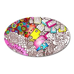 Beautiful Colorful Doodle Oval Magnet