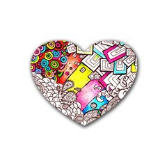 Beautiful Colorful Doodle Heart Coaster (4 Pack)